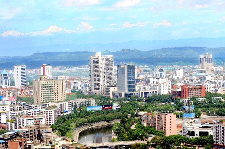 四川广安邓小平纪念馆-广安城市一角-城市