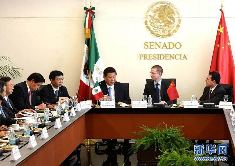 6月5日,国家主席习近平在墨西哥城会见墨西哥国会常设委员会主席安图片