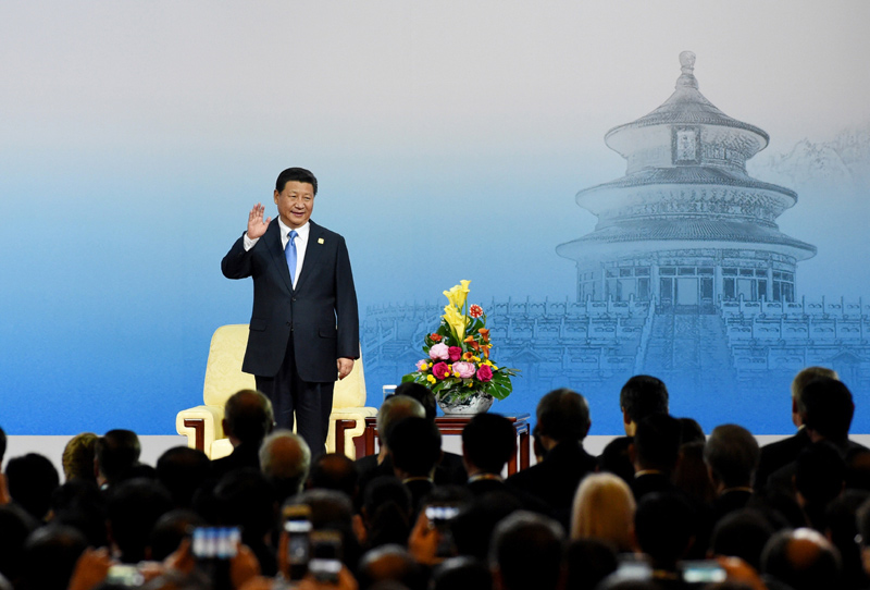 新华社记者 马占成 摄-习近平出席2014年亚太经合组织领导人会议图片