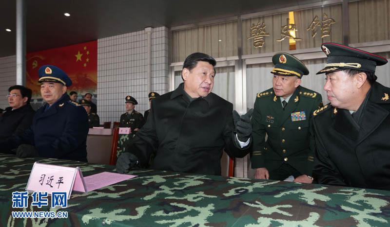 9日,习近平到武警部队视察.李刚 摄-盘点十八大以来习近平的军队图片