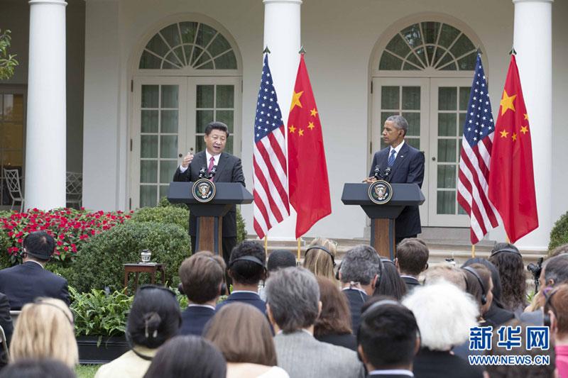9月25日,国家主席习近平åœ 华盛顿同美国总统奥å・´é©¬ä¸¾è¡Œä¼šè°ˆã€'会谈后,两国元首共同会见记者。 新华社记者 黄敬文 摄