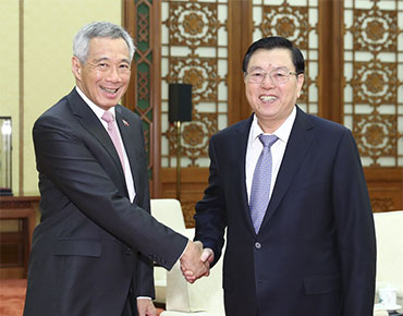 张德江会见新加坡总理