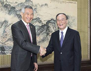王岐山会见新加坡总理