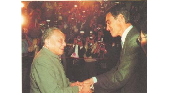 1987年4月13日,邓小平会见葡萄牙总理席尔瓦