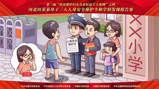 """第三届""""依法维护妇女儿童权益十大案例""""宣传漫画"""