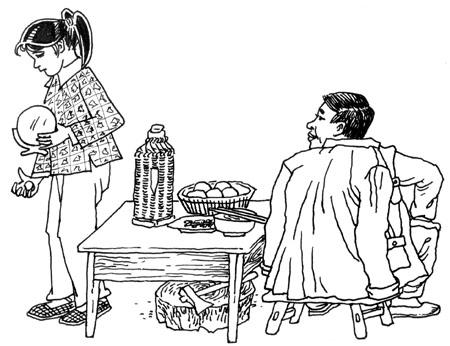 节俭简笔画-连载⑧ 仅两元爱女买胭脂 只一句严父释节俭