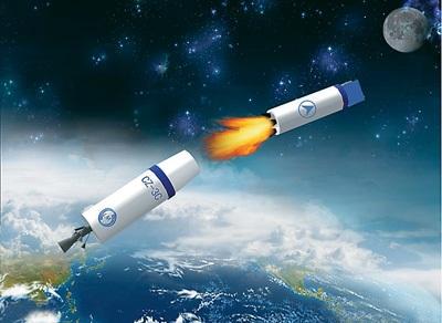 19时零5分:火箭二级与三级分离.(示意图)