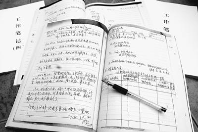 税成康留下的4本工作日记。人民网记者 刘裕国摄